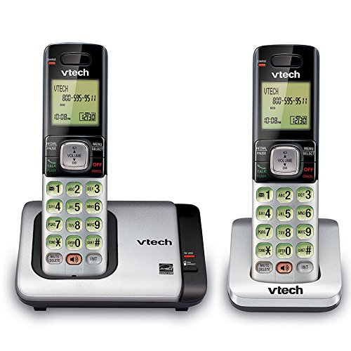 VTech CS6719-2 DECT 6.0 Phone with Caller ID/Call Waiting, Silver/Black with 2 Cordless Handsets (5 Display Line)