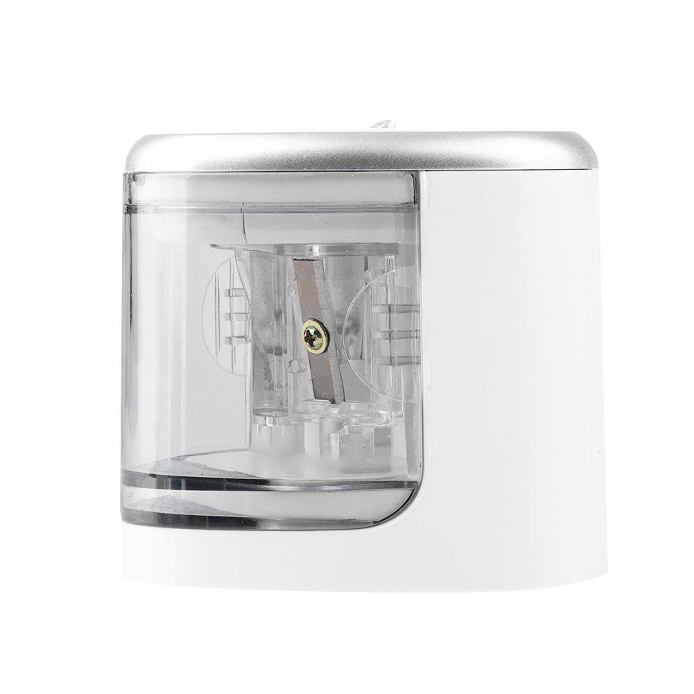 Fdit Sicurezza elettrica a Batteria temperamatite con Due Fori Cancelleria Automatica per Ufficio Scuola(Silver Gray) BUICN2336