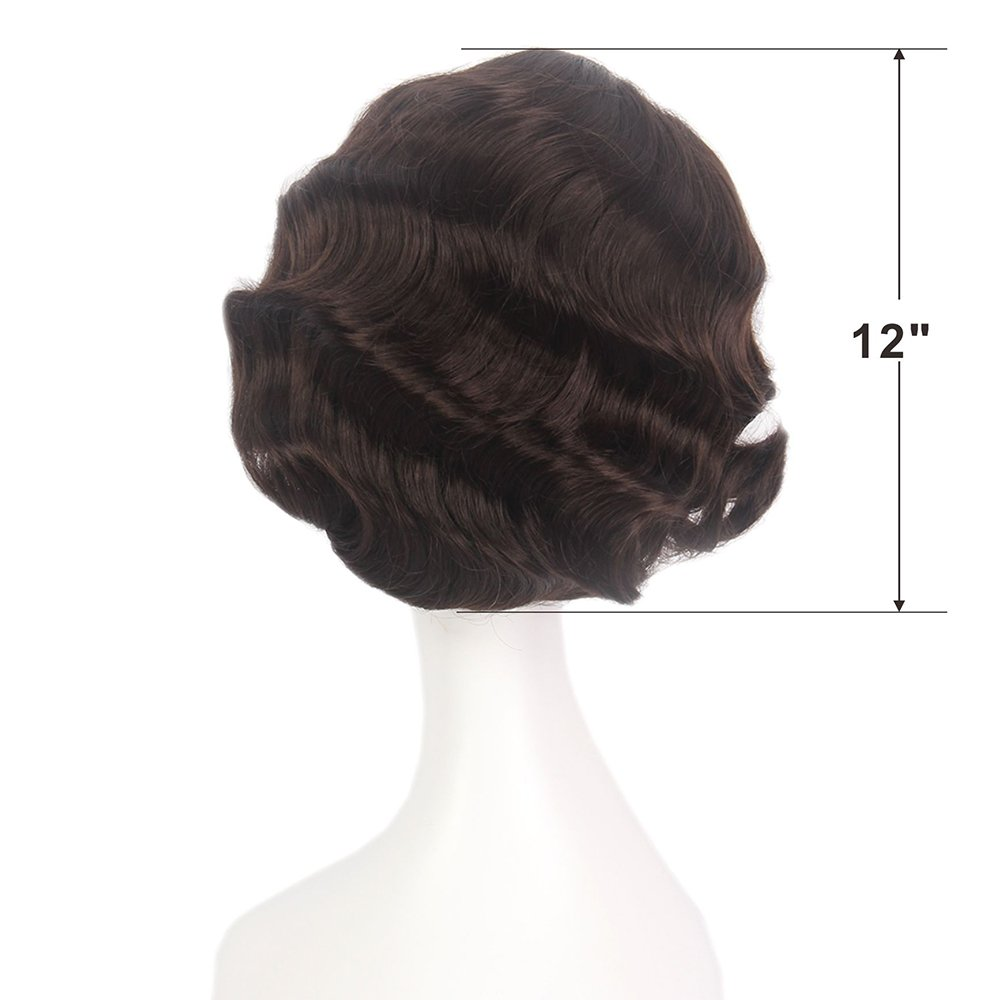 STfantasy Finger Wave Wig Brown Bob Short Curly for Women Cosplay Party Costume Hair 12'' by STfantasy (Image #2)
