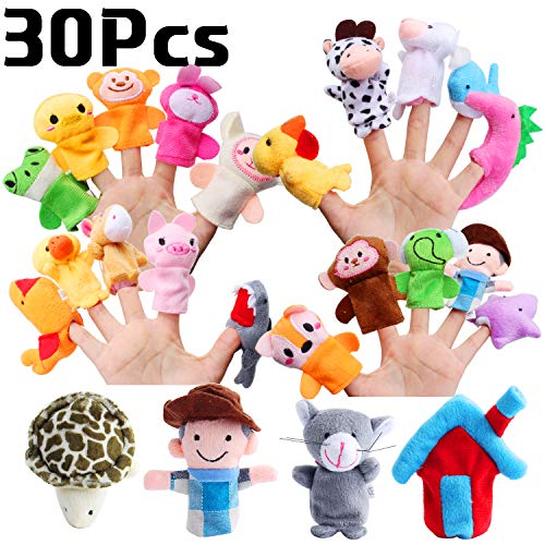 Hicdaw 30PCS Animals Finger Puppets Baby Story Puppet Toys Mini Plush Figures Toy Soft Hands Finger Puppets for Children, Random Color