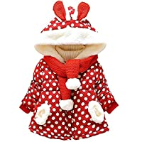Garsumiss Baby Girl Jacket Thick Winter Hoodie Rabbit Bunny Coat Toddler Outerwear Red