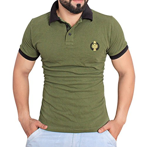 Men's Forest Green Stylish Polo Shirt by QZS Clothing