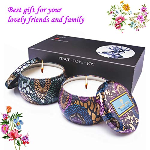 (bitfire Scented Candles Gift Set of 2 Pack 100% Natural Soy Wax in White Tea & Rose Fragrances,Strongly Scented for Stress Relief and Aromatherapy, Option and Portable Travel Supplies)
