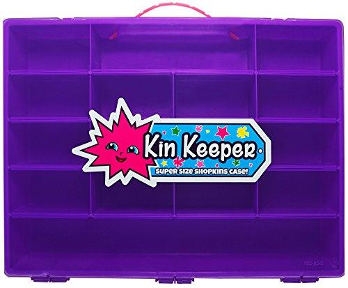 Shopkins Style Purple Carrying Case and Storage Organizer - Large Limited Edition Display Box with Pink Handle - By Kin Keeper - Case Only