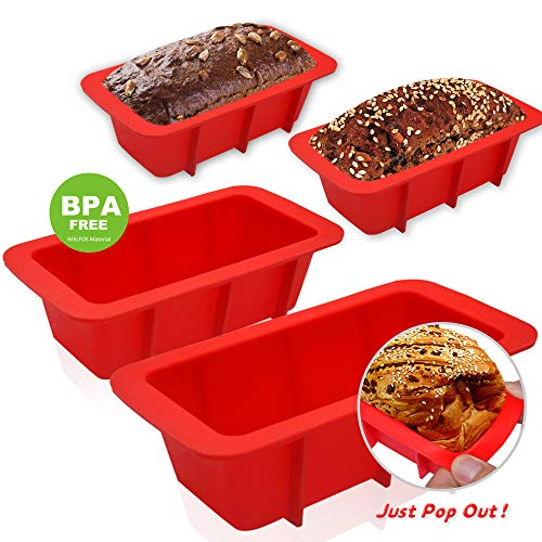 WALFOS Mini Loaf Pan Set - NON-STICK,FLEXIBLE Silicone Bread Loaf Pan ! JUST POPS OUT! - Food Grade & BPA Free (4 ()