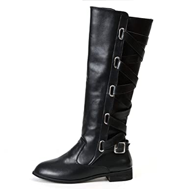 fa4699c5ca39e Amazon.com: YING LAN Womens Lace Up Strappy Knee High Motorcycle ...