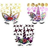 Jovitec 3 Pieces Unicorn Pattern Wall Decal Wreath Star Dots Eyebrow Wall Stickers for Girls Bedroom Nursery Home Decoration
