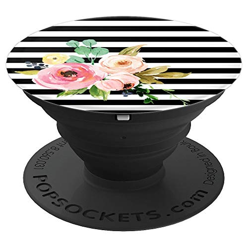 - Black and White Stripe with Watercolor Floral Accent - PopSockets Grip and Stand for Phones and Tablets