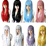 Wig,Baomabao 80CM Long Straight Cosplay Wig Multicolor Heat Resistant Full Wigs (Red)