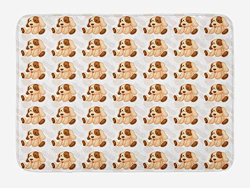 Weeosazg Dog Lover Bath Mat, Stuffed Toy Design Children Plaything Digitally Composed Animal Sitting Position, Plush Bathroom Decor Mat with Non Slip Backing, 23.6 W X 15.7W Inches, Beige Brown