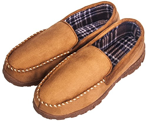 Festooning Men's Moccasin Slippers Pile Lined Microsuede Indoor Outdoor Slip On House Shoes Light Brown Size 10 -