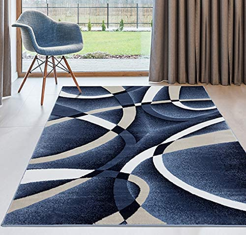 Persian-Rugs-2305-Blue-Swirls-7'10-x10'6-Modern-Abstract-Area-Rug-Carpet