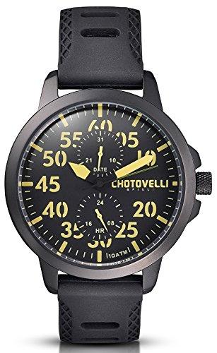 Chotovelli Aviator Men's Watch 24/Date display Grey Army Pilot Strap 33.12
