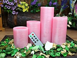 Amazon Com Pink Flameless Real Wax Candles With Remote 4