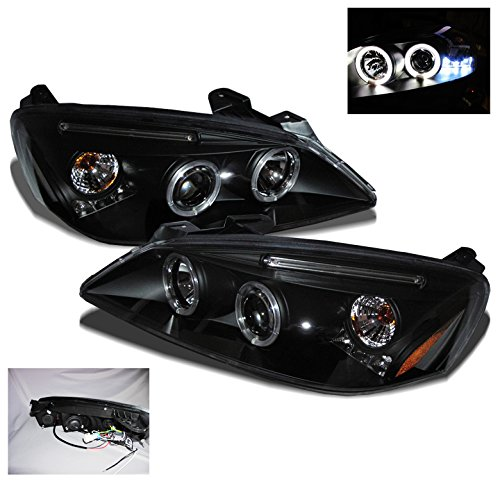 ZMAUTOPARTS Pontiac G6 2Dr/4Dr Twin Halo LED Projector Headlight Black -