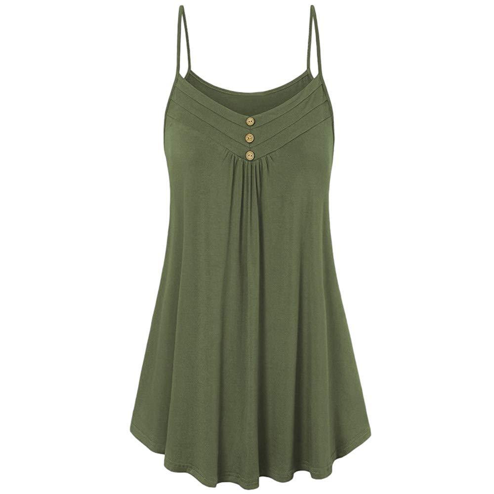 iLUGU Women Summer Loose Button V Neck Strapless Cami Vest Tank Top Sleeveless Blouse Polo Men Army Green