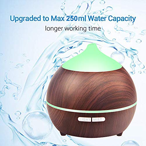 Essential Oil Diffuser XFelectronics 250ml Aromatherapy Oil Diffuser Wood Grain Ultrasonic Diffuser Cool Mist Humidifier with 7 Color Light, Auto-Off Safety, Aroma Diffuser For Home Baby Office Yoga