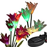 Eletorot Outdoor Solar Garden Stake Lights-2 Pack Solar Powered Lights with 8 Lily Flower, Multi-Color Changing LED Solar Decorative Lights for Garden, Patio, Backyard(Purple and Beige)