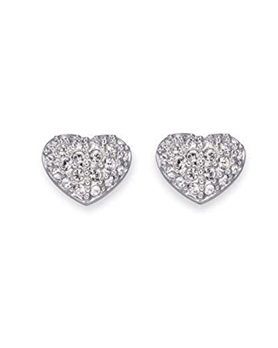 875ef0c51 Image Unavailable. Image not available for. Color: Heart Shape CZ Cubic  Zirconia Pave Sterling Silver Puffed Stud Earrings