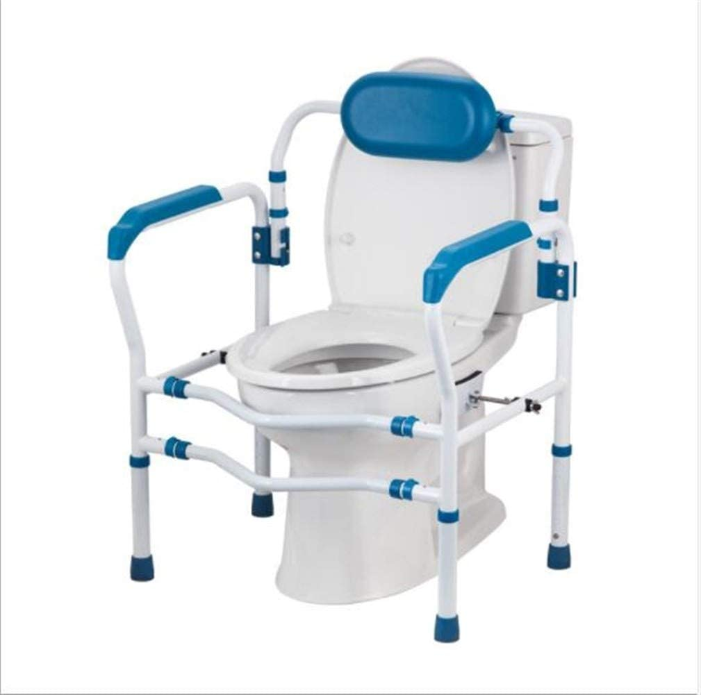 Asdfgh Toilet Sitz mit Backrest für die Elderly Disabled Toilet Height Adjustable Bathroom Anti-Skid Auxiliary Frame Grab Leiste Toilet Safety Schiene (Color : Blue)