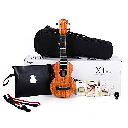 (Official Enya EUS-X1 Soprano Ukulele 21 inch HPL Starter Kit with Padded Gig bag,String,Tuner,Strap,Capo,Picks,Polishing cloth)