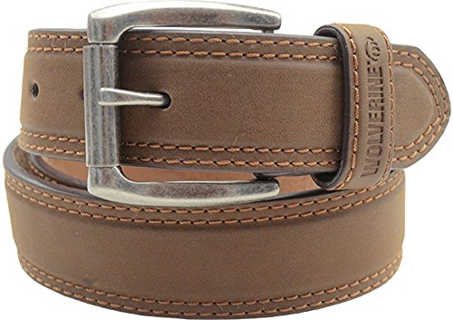 Wolverine Men's Double Topstitched Leather Belt Roller Buckle Brown (44, Light Brown)