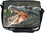 work sharp carrying bag - Rikki Knight Alligator in the Wild Design Premium Messenger Bag - School Bag - Laptop Bag - with padded insert for School or Work - With Matching Pencil Case