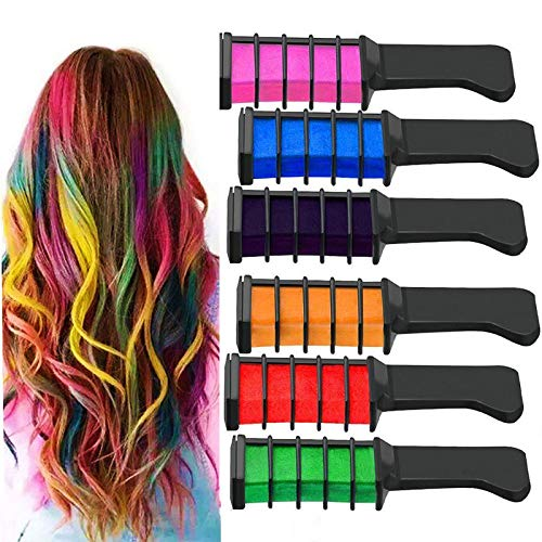 Rocutus 6pcs/set Hair Chalk Comb,Temporary Hair Chalk Set Hair Beauty Tool,Hair Chalk Comb Set Washable Color for Kids Hair Dyeing Party, Cosplay]()