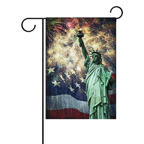 ALAZA Duble Sided Independence American Celebrate Fireworks 4th of July Patriotic Vintage Statue of Liberty Polyester Garden Flag Banner 12 x 18 Inch for Outdoor Home Garden Flower Pot Decor