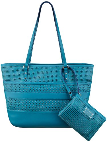 Nine West Show Stopper Laser Cut Tote Handbag One Size Splash blue