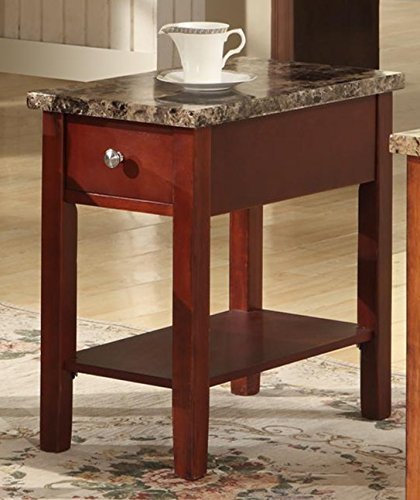 (GTU Furniture Faux Marble Top Drawer Wood Side/End Table in 3 Colors (Cherry))