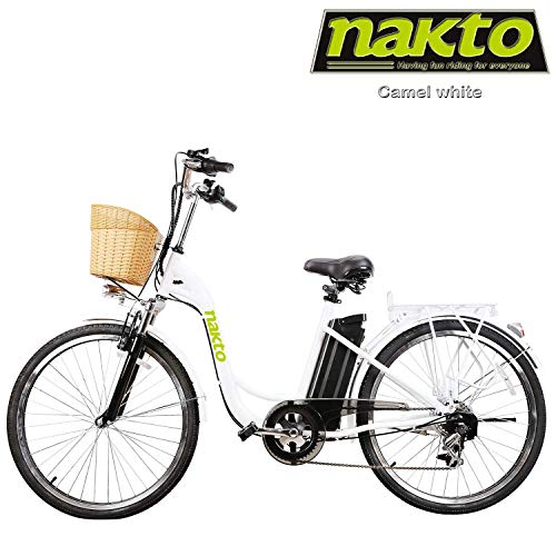 """nakto Adult Electric Bicycles 26"""" Electric Bikes for 36V/10Ah/12Ah Ebikes(Camel White)"""