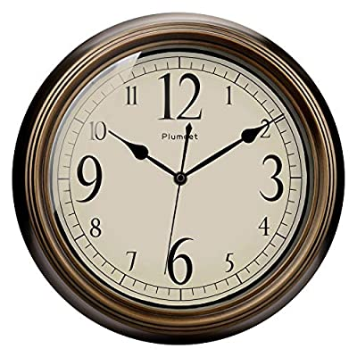 Plumeet Large Retro Wall Clock - 13'' Non Ticking Classic Silent Clocks Decorative Kitchen Living Room Bedroom - Battery Operated (Big Numerals, Bronze) - Wall Clocks for Living Room -- Vintage look, 13 inches, no ticking super quiet movement, 4 big arabic numerals clear to read. large decorative for home and office, best gift for your family or friends. Superior Movement Quality -- Reliable clock mechanism to guarantee accurate time, quiet sweep second hands ensure a good sleeping and work environment, this clock will definitely impress you. Western Classical Style -- Antique and vintage style decoration, with practical and beautiful combination. clear display and convenient to read time with large number inside, very aesthetically pleasing. - wall-clocks, living-room-decor, living-room - 51%2BP5 lSEEL. SS400  -