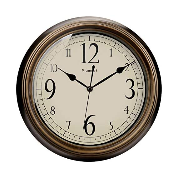 Plumeet Large Retro Wall Clock - 13'' Non Ticking Classic Silent Clocks Decorative Kitchen Living Room Bedroom - Battery Operated (Big Numbers) - 🕗 Plumeet advantage -- Vintage look; large size-13 inch; no ticking super quiet movement; big arabic numerals clear to read. large decorative for home & office, best gift for your family or friends. 🕗 Superior Movement Quality -- Reliable clock mechanism to guarantee accurate time, quiet sweep second hands ensure a good sleeping and work environment, this clock will definitely impress you. 🕗 Western Classical Style -- Antique and vintage style decoration, with practical and beautiful combination. clear display and convenient to read time with large number inside, very aesthetically pleasing. - wall-clocks, living-room-decor, living-room - 51%2BP5 lSEEL. SS570  -