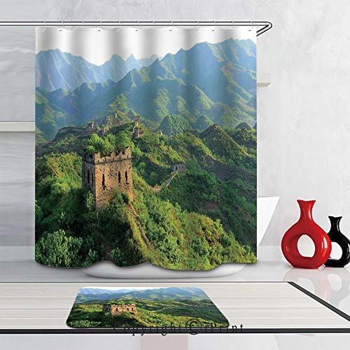 3D Print Waterproof Fabric Bathroom Curtain and Rug Set with Hooks,Colorful, (66