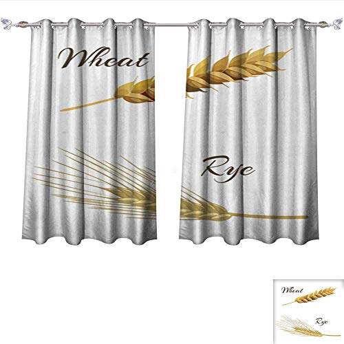 Wheat 4 Light Chandelier (DragonBui Customized Curtains Wheat and rye Ears Thermal Insulated Blackout Curtains W108 x L72/Pair)