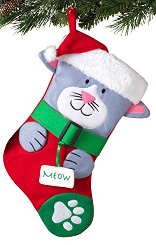Cute Dog or Cat in Santa Hat Christmas Pet Stocking Hanging Decoration (Cat)