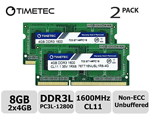 Non Ecc Unbuffered Memory Module - Timetec Hynix IC 8GB Kit (2x4GB) DDR3L 1600MHz PC3-12800 Non ECC Unbuffered 1.35V CL11 1Rx8 Single Rank 204 Pin SODIMM Laptop Notebook Memory Ram Module Upgrade 8GB Kit (2x4GB)