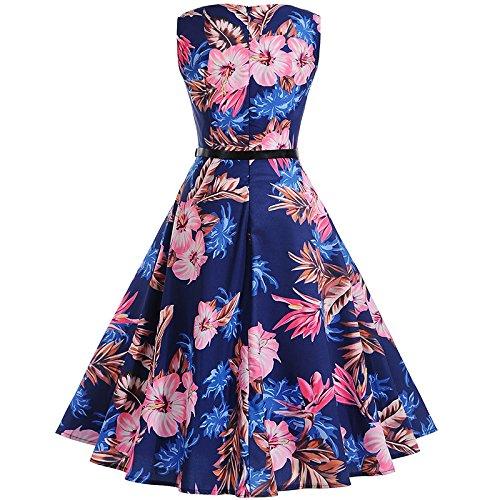 b5f12f9d74f742 ... Rundhals Ärmellos Vintage Blumendrucken Cocktailkleid Modisch  Sommerkleid Petticoat Kleid Swing Bekleidung Blau Knielang Rockabilly  Plissee 50er ...