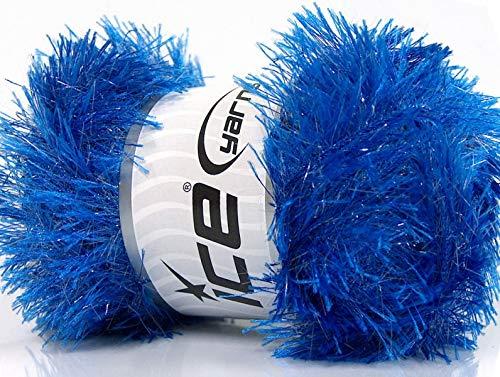 Blue Eyelash Glitz - Ice Sparkly Eyelash Yarn 100 Gram, 153 Yards - Eyelash Yarn Patterns