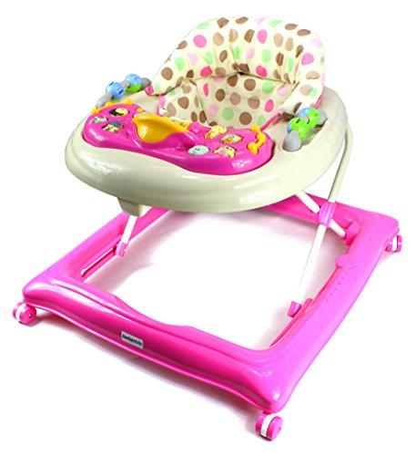 Bebemio Happy Zoo Farm Animals Baby Walker w/ Adjustable Height, Lights, Sounds (Pink) by Bebemio