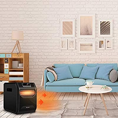 Modern Design Electric Heater 1500 W Timer up to 12 Hours LED Remote Control Portable Electric Space Heater Freestanding Move Easily Private Area Perfect Heating Small Spaces Office, Living, Bed Room