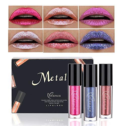Coosa 6PCS Non-stick Cup Metal Lipstick Waterproof Sparkling Lip Gloss Vivid Color Matte Lip Liquid Long Lasting Makeup 6 Colors Set ()