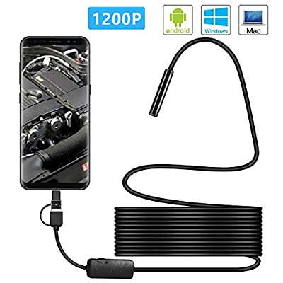 USB Endoscope Camera,Kotmuax 3 in 1 Semi-rigid Borescope Inspection Camera 1200P HD,USB Type C Endoscope with 8 Adjustable LED Light,IP68 Waterproof Snake Camera for Android,Windows PC,Macbook(16.4FT)