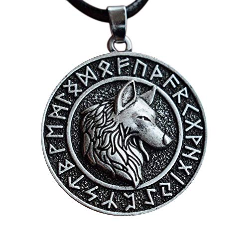 (HAQUIL Viking Jewelry Rune Ancient Wolf Necklace for)