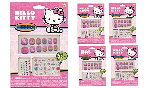 Hello Kitty 65 pcs Decorative Nail Art Nail Stickers and Gems x 4 -