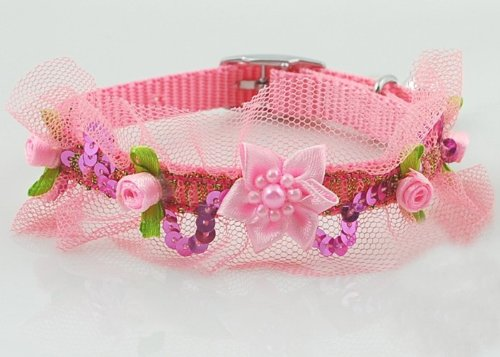 Lightahead® fancy lace Pet Collar with beads ,bell and flowers for your dog cat (Pink), My Pet Supplies