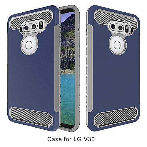 LG V30 Case, Asstar Dual Layer Soft TPU Hard PC Hybrid Armor Defender Shock Absorption Anti-Slip Heavy Duty Full Body Carbon Fiber Design Protective Case for LG V30 (Navy+Grey)