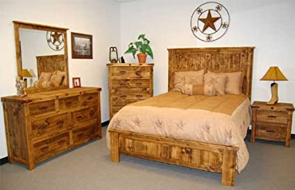 5 Piece Reclaimed Look Bedroom Set King Size Bed