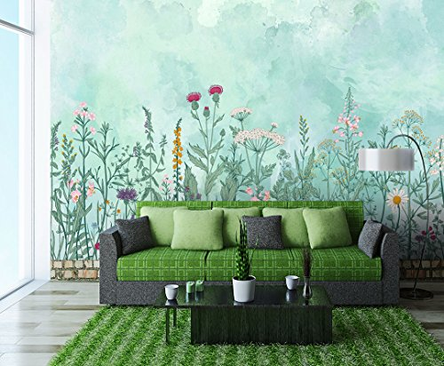 Large Wall Mural Retro Style Flowers and Plants of Various Colors Vinyl Wallpaper Removable Wall Decor